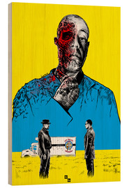 Tableau en bois  Breaking Bad Gus Fring death whit blood - Paola Morpheus
