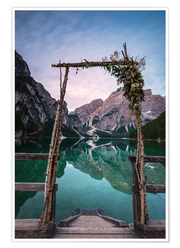 Poster Lago di Braies decorated