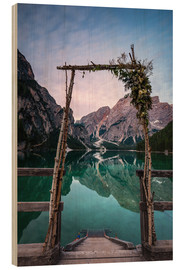 Tableau en bois  Lago di Braies decorated - MUXPIX
