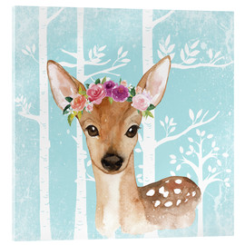 Verre acrylique  Glamorous fawn with blossoms in the blue forest - UtArt