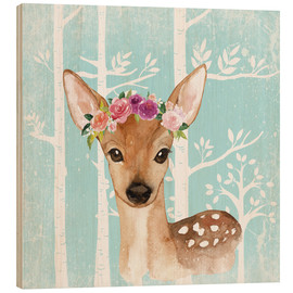 Tableau en bois  Glamorous fawn with blossoms in the blue forest - UtArt
