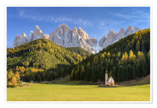 Poster Church in Val di Funes in South Tyrol