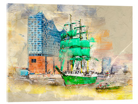 Tableau en verre acrylique  Hamburg Elbphilharmonie with the sailing ship Alexander von Humboldt - Peter Roder