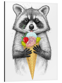 Alu-Dibond  Raccoon with ice cream - Nikita Korenkov