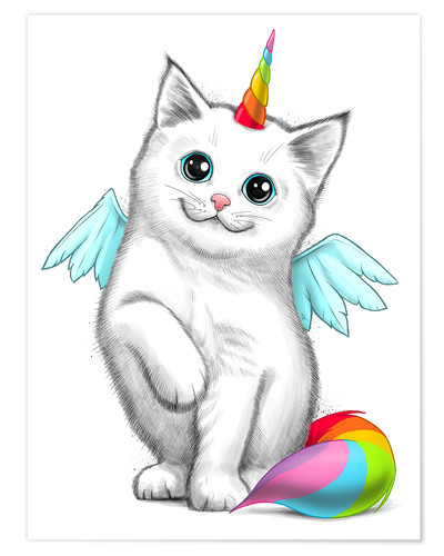 Poster Le chat licorne