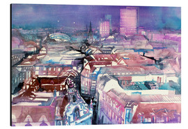 Tableau en aluminium  Leipzig, view from the Thomas Church - Johann Pickl