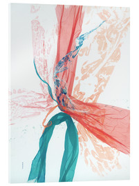 Verre acrylique  Peach and Teal abstract - Jan Sullivan Fowler