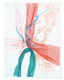 Poster  Peach and Teal abstract - Jan Sullivan Fowler