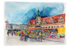 Tableau en verre acrylique  Leipzig Weekly market in front of the Old Town Hall - Hartmut Buse