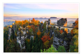 Poster  Bastei Bridge in Saxon Switzerland - Reemt Peters-Hein