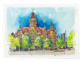 Poster  Leipzig New Town Hall - Hartmut Buse