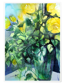 Poster Yellow roses with ivy in vase