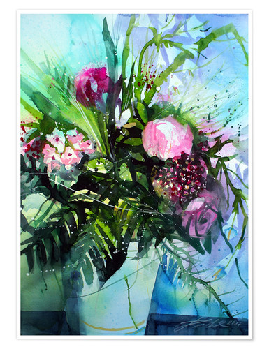 Poster Bouquet with peony
