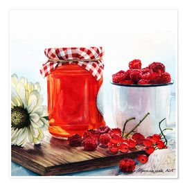 Poster Raspberry jam watercolor painting