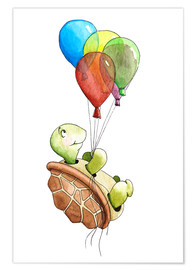 Poster  Tortue et ballons - Nadine Conrad