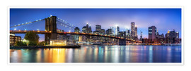 Poster Brooklyn Bridge panorama in New York City, USA