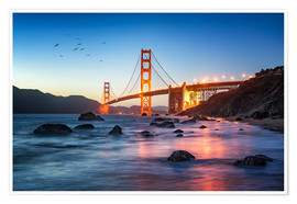 Poster Golden Gate Bridge at sunset in San Francisco, USA