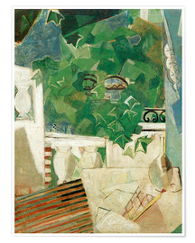 Poster Paysage avec terrasse blanche