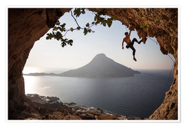 Poster  Climber on the Kalymnos island, Greece