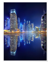 Poster Dark blue night - Dubai Marina bay