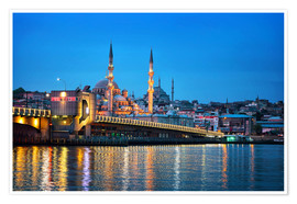 Poster  Galata Bridge at night in Istanbul