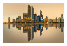 Poster Abu Dhabi skyline at sunrise