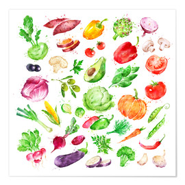 Poster  Légumes et fruits en aquarelle