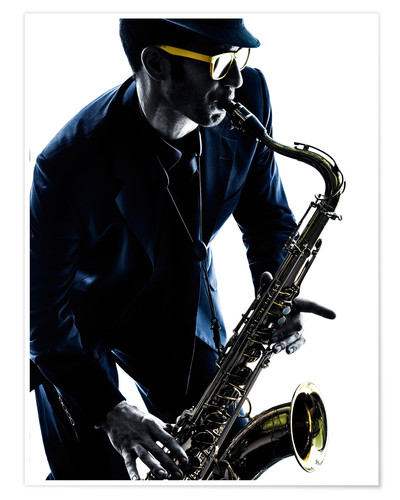 Poster saxophonist playing saxophone