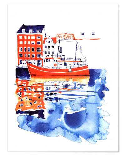 Poster Copenhagen canal and harbour