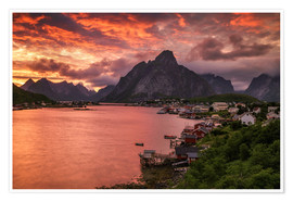 Poster Lofoten sunset in Reine