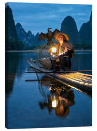 Tableau sur toile  Old cormorant fisherman in Guilin, China - Jan Christopher Becke