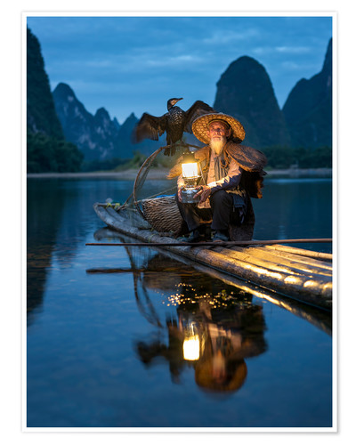 Poster Old cormorant fisherman in Guilin, China