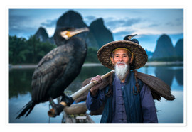 Poster Chinese fisherman with cormorant in Guilin, China