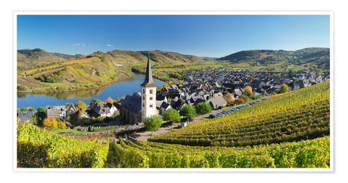Poster Mosel River Bend in autumn, Bremm