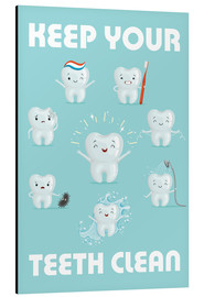Tableau en aluminium  Keep your teeth clean - Kidz Collection