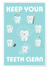 Poster  Keep your teeth clean - Kidz Collection