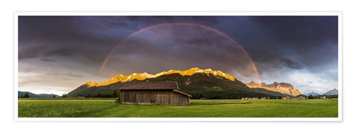Poster Rainbow and alpenglow in the Karwendel