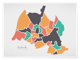 Poster Karlsruhe city map modern abstract with round shapes
