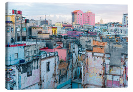 Toile  Authentic view of a street of Old Havana
