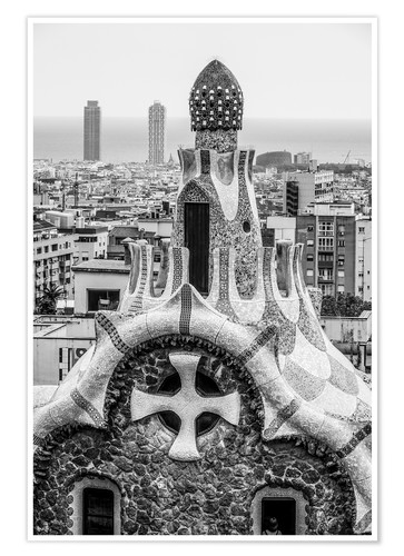 Poster Impressive architecture and mosaic art at Park Guell