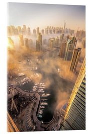 Verre acrylique  Dubai Marina covered in early morning fog