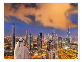 Poster Arab man looks over Dubai