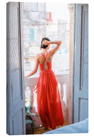 Toile  Young attractive woman in red dress