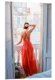 Tableau en PVC  Young attractive woman in red dress