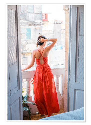 Poster Young attractive woman in red dress