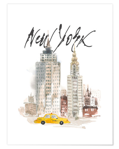 Poster Aquarelle New York
