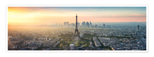 Poster Paris skyline with Eiffel tower at sunset