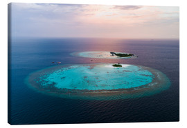 Tableau sur toile  Islands at sunset in the Maldives - Matteo Colombo