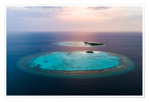 Poster Islands at sunset in the Maldives