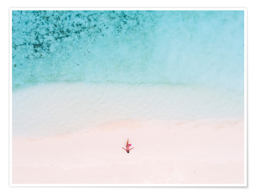 Poster Drone view of woman on the beach, Maldives